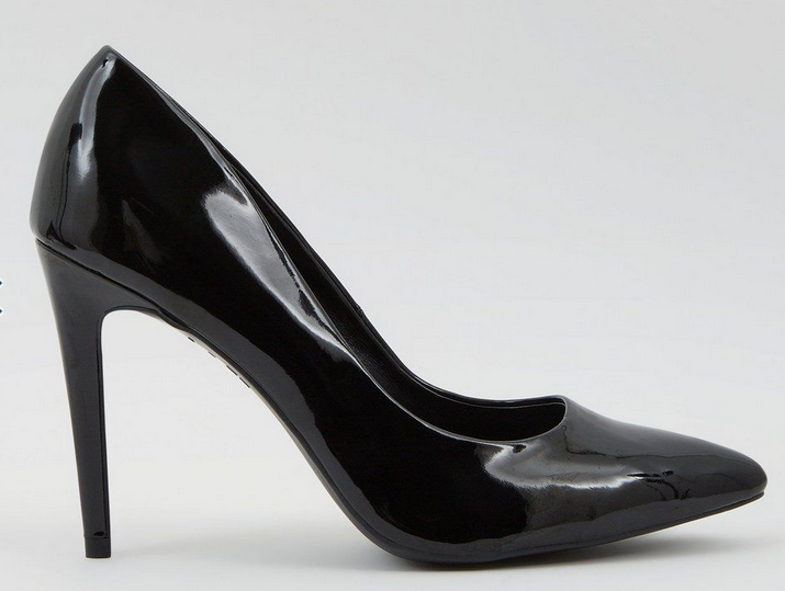 Black Patent Pointed Court - New Look