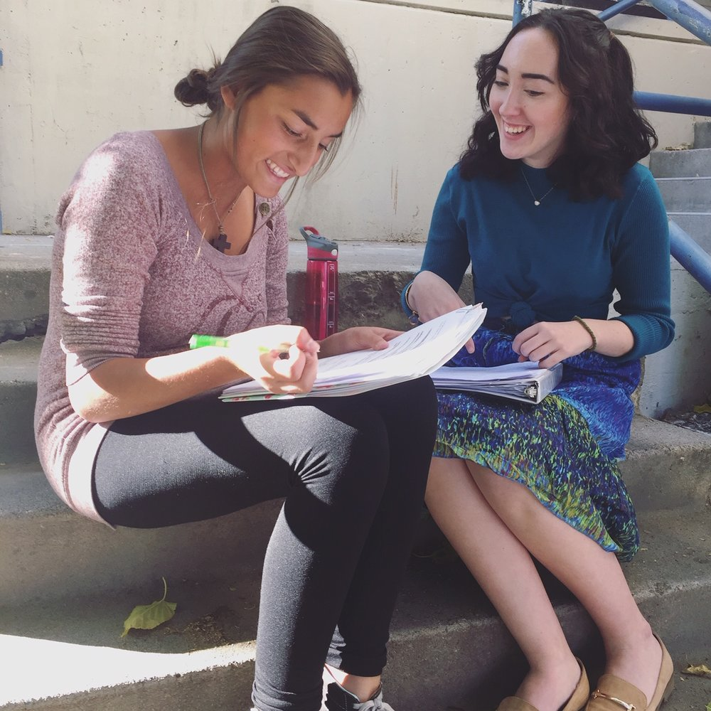Catie & Maggie from Collaborative Playwriting, working on a new script