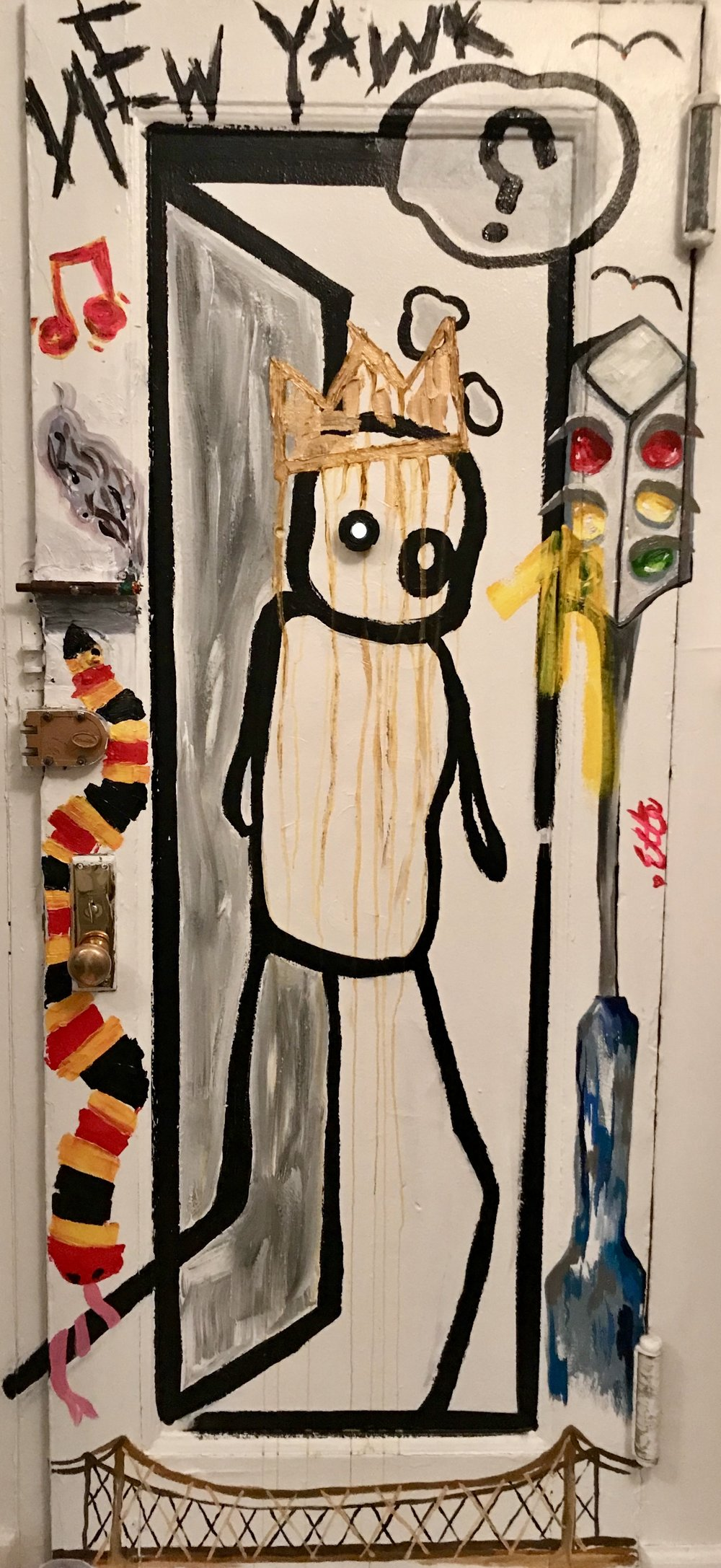 """Ode To Stik"" back of an apartment door"
