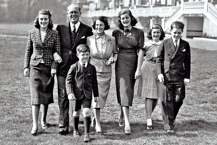 Joe & Rose Kennedy with five of their nine children at their home in London, 1938. Kick is on the left.