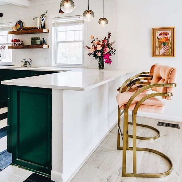 Found the bar-stool cousins of the two Milo Baughman inspired chairs we have right now at Red Crow 😍 Swipe to see our gray & brass beauties. 📸 found via Pinterest