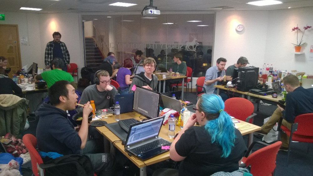 I'm the guy at the back, entering Guildford Global Game Jam 2016 in a visible representation of my second point below...