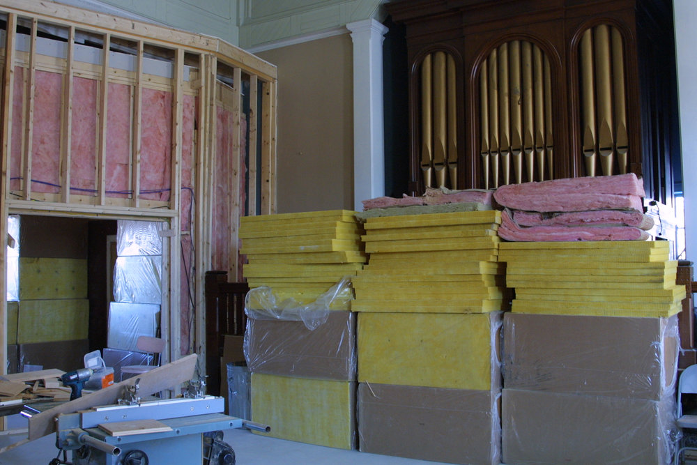 Some of the Owens Corning 703 we used on the diaphragmatic panels