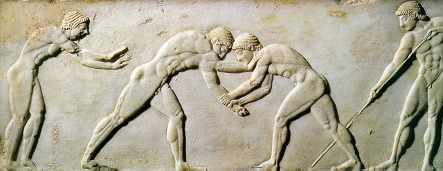 Photograph shows a marble sculpture of ancient Greek wrestlers from 510 B.C. is part of an exhibition at the National Archaeological Museum in Athens (credit NBC news)