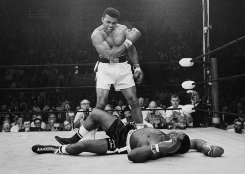 Muhammad Ali knocked out Sonny Liston in their second fight on May 1965 in Lewiston, Maine. (credit: slate.com)
