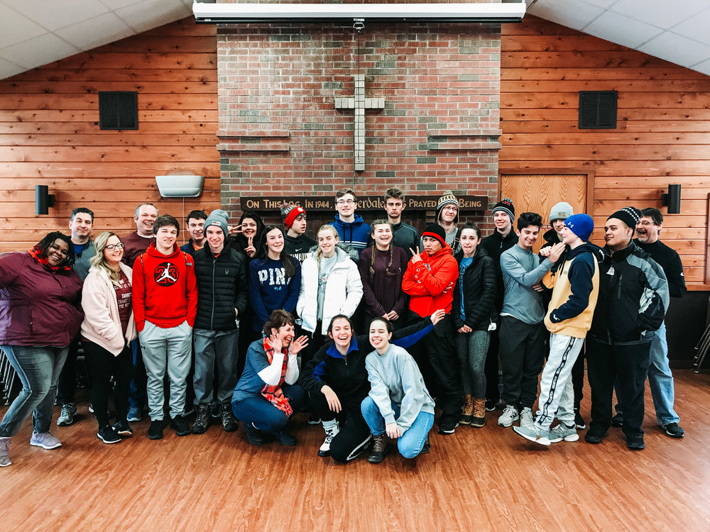 The St. John's Youth Group on a ski trip this February