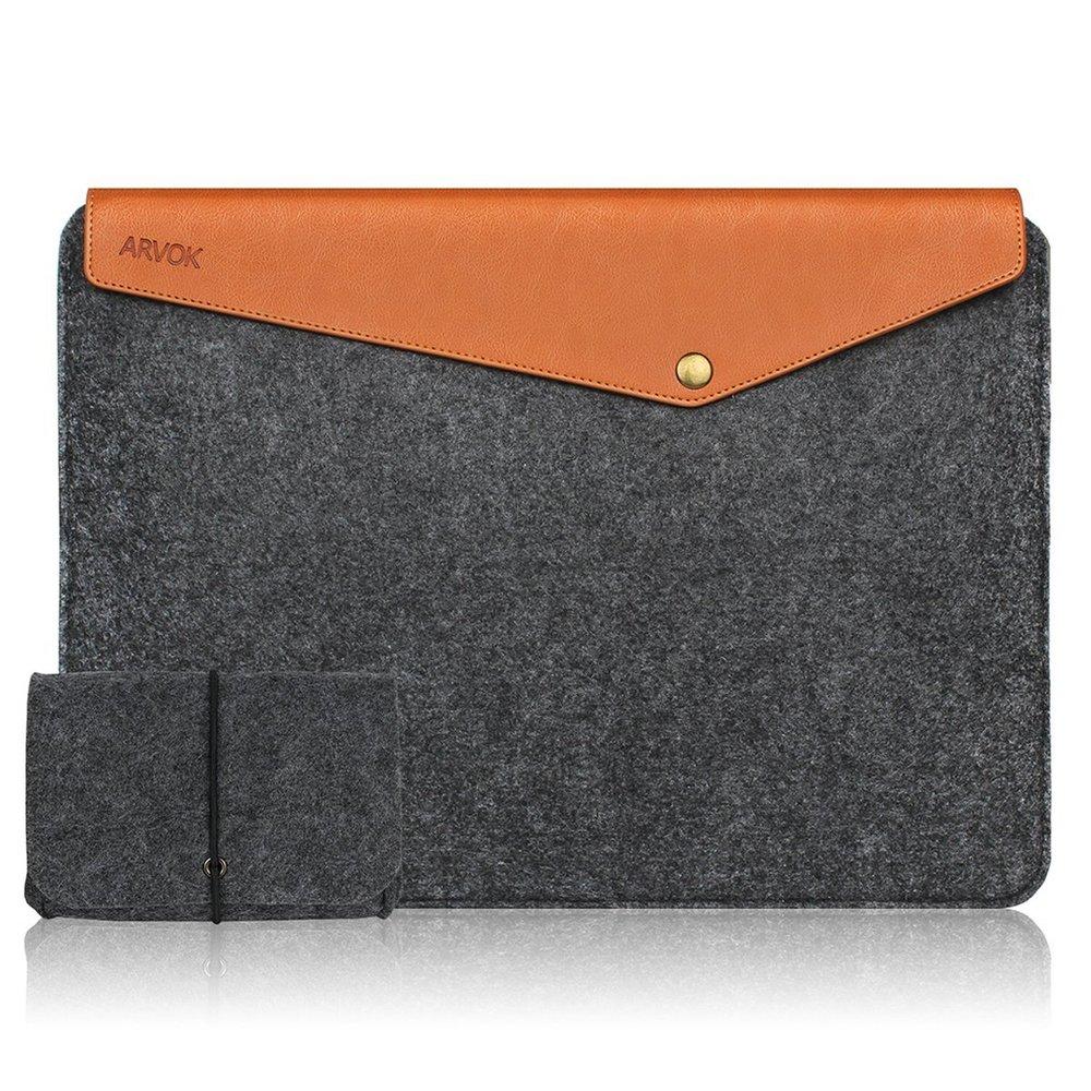 Leather + Felt Computer Sleeve