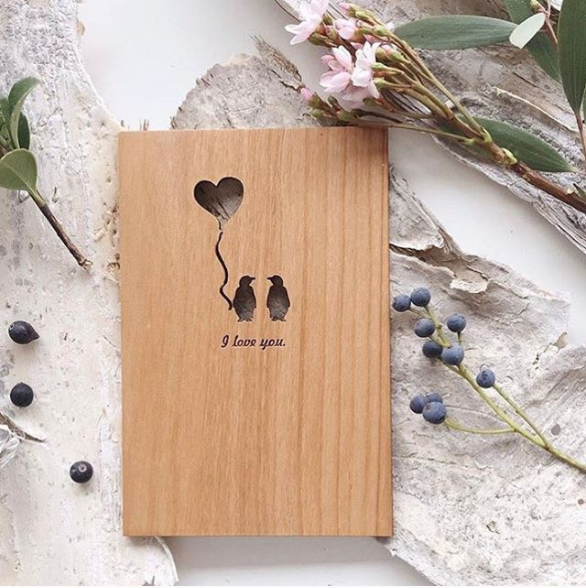 'I Love You' Wooden Card