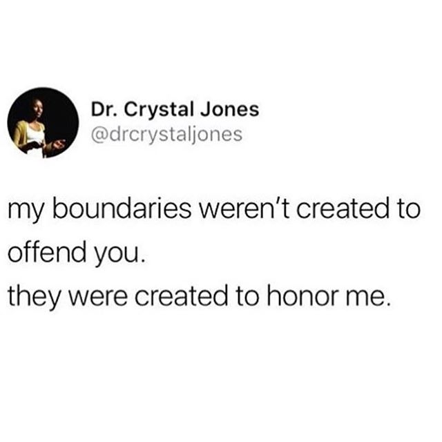 I love this. Every time I see it, I remember to continue to hold my boundaries & honor myself. #selflove #selfcare #boundaries @bl.ack.magic.wo.man