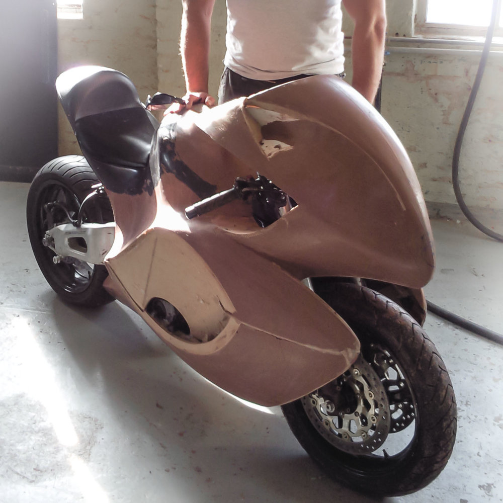 Clay model of the body, modelled directly on the chassis.