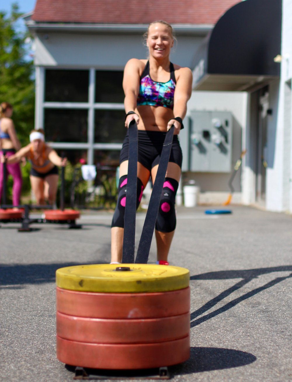 What an outstanding weekend at Pioneer Valley CrossFit! The PR bell rang constantly during our Total on Saturday, and sleds raced up and down our parking lot all through Sunday morning! More pictures to come! Here's a little preview with PVCF athlete, Katie Monahan digging in deep to keep that sled moving!