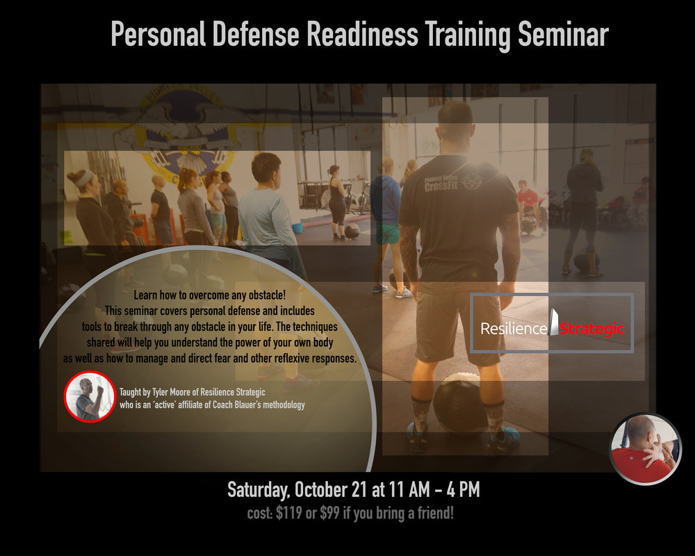 Learn how to overcome any obstacle! This seminar covers personal defense and includes tools to break through any obstacle in your life.