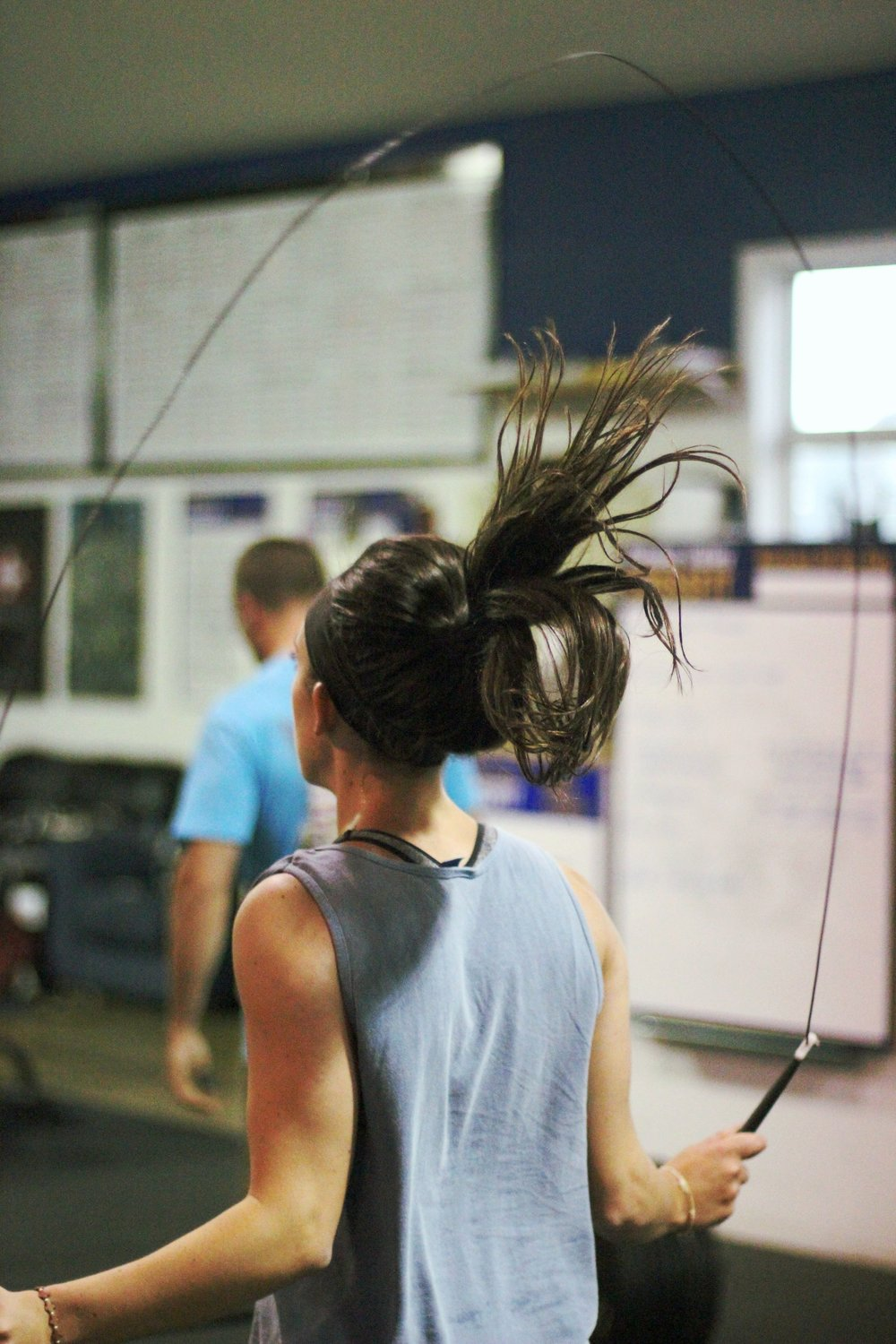 When all the hair is in the air during double unders!