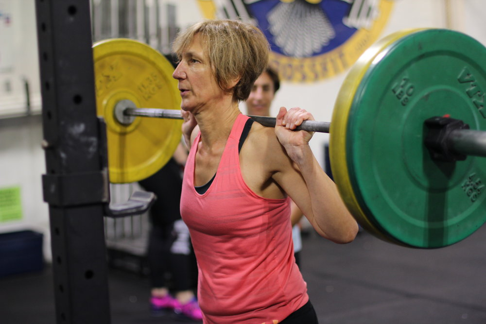 PVCF athlete, Claudia Spaulding sets up for some back squat gains!