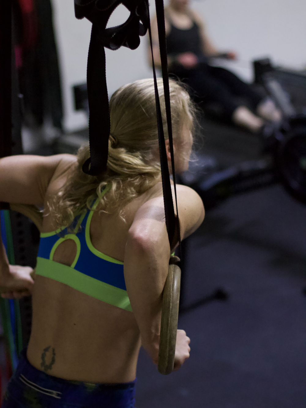 PVCF athlete, Katie Monahan sets up for some ring dips!
