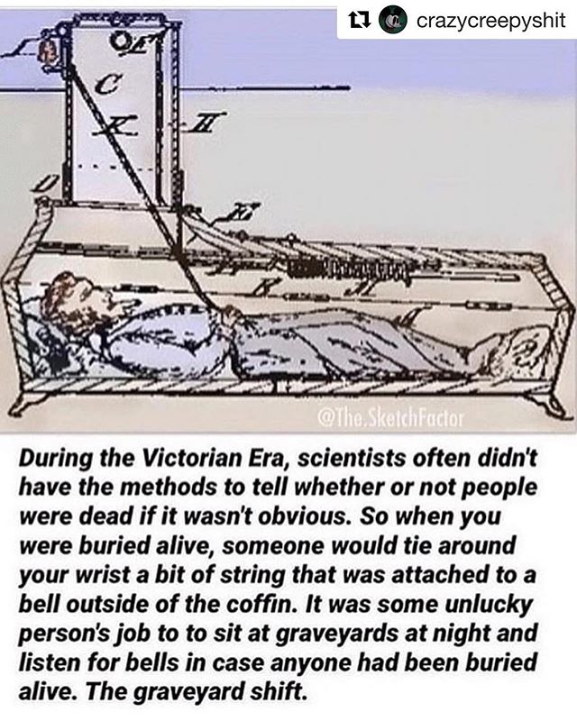 Perfect example of the safety coffin, as discussed in Episode 11: The Graveyard Shift #episode8 #flashback #graveyardshift #safetycoffins #buriedalive #becreepy #becreepywithme  #Repost @crazycreepyshit with @get_repost ・・・ Follow @fukcjack 😈