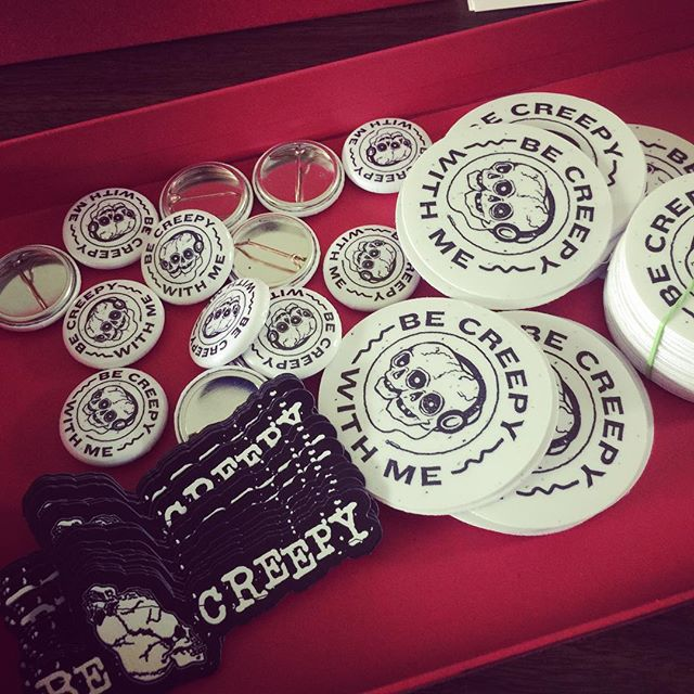 Magnets and stickers and buttons, oh my! Prepping some envelopes full of goodies for some lucky recipients. Love those logos! #swag #stickers #magnets #buttons #giveaways #logos #design #stickermule #ninjasticker #stakeyourclaim #becreepy #becreepywithme #becreepywithmepodcast #podcastlife #podcasting #womeninpodcasting