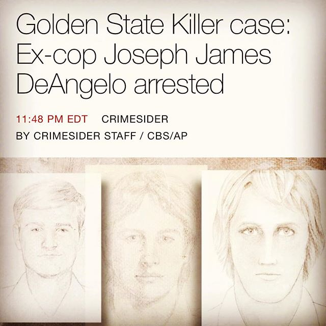 It's hard to believe...the boogeyman himself has been arrested. A huge thanks to the law enforcement officers involved, and all the love to the victims and their families. This case is one of the most terrifying and disturbing in existence. Don't think any true crime fan ever believed it would be solved. #goldenstatekiller #eastarearapist #theoriginalnightstalker #EARONS #boogeyman #truecrime #coldcase #solved #hugenews #bigday #news #dnaday