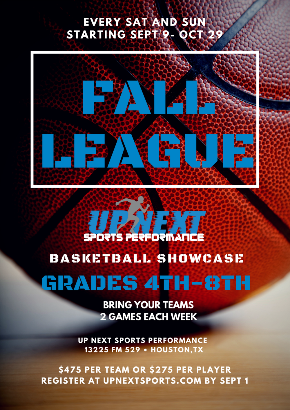 Welcome to the 1st UpNext Fall League 2017 We will be offering two games a weekend for the next eight weeks beginning 9/16/2017. The divisions are broken up by grade level only with 4-5th together, 6th alone and 7-8th together. We will be playing 16mn halves with 2 minute half times. Overtime games will consist of 2 minutes, double overtime 1 minute. The cost for 16 games is only $475. This breaks down to only $30 per game. Refs will be provided, and teams are responsible for books and clock work. Schedules will be posted on Tourney Machine, an easy to use app that once registered we will send you the link for your convenience. All teams must provide proof of grade for each player. If it is proven that a team has cheated by entering an older player, they will be disqualified and NO REFUND given.