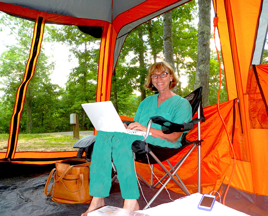 The Division of State Parks generously provided an extra campsite for tour coordinator Marge Davis and her Big Orange tent.