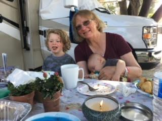 Chris, pictured here with her two grandsons.