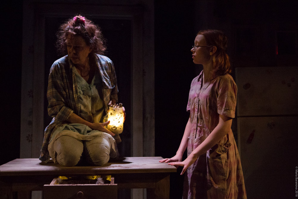 (l to r) Deirdre O'Connell & Clementine Belber in NEXT DOOR at New York Theatre Workshop production presented by Monk Parrots.