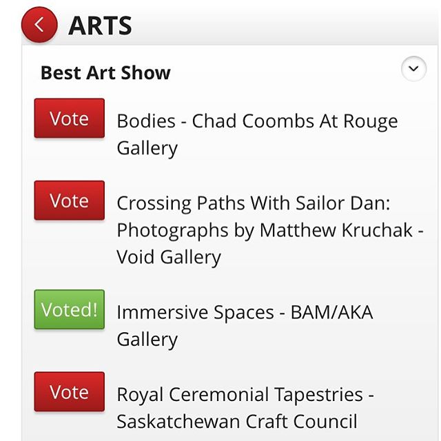 "🌟 Very flattered to be nominated for a ""Best of Saskatoon"" in @planetsmagazine for our show at @aka_artist_run ! Don't forget to vote for us! 🌟 #yxeart #bestofsaskatoon #bamsaskatoon"