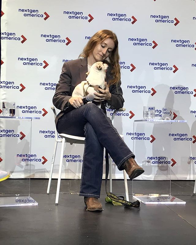 Great job to Aria the chiweenie. She made her big-time stage debut at @nextgenamerica 's forum & didn't pee in fear! She's gone from a dumped dog covered in feces & fleas with 3 BBs in her stomach - deemed unadoptable & on track for euthanasia - to a rescue dog ambassador! 💙