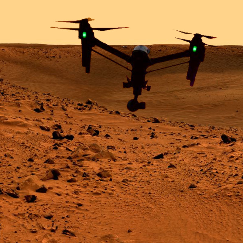 Drones on Mars   On earth, it has become trivial to design and build powerful multicopters and unmanned aerial vehicles that can be fitted with a variety of powerful sensors. With a low density atmosphere on Mars, would it be possible to build a low--atmospheric drone that is capable of conducting prospecting missions on Mars much more rapidly than NASA's current Mars rover is able to?  Design a low atmospheric drone for Mars that is capable of autonomous prospecting of water and ice on Mars, while collecting data that could indicate a useful location for mining operations that would turn water into elements and chemicals such as oxygen for sustaining human settlements, and hydrogen or methane for fueling rockets.