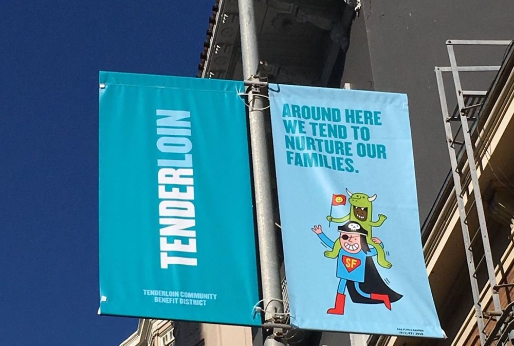 TL Banner Project - The Tenderloin Banner Project is a playful take on some of the many tender characteristics of the Tenderloin. Around here . . .READ MORE