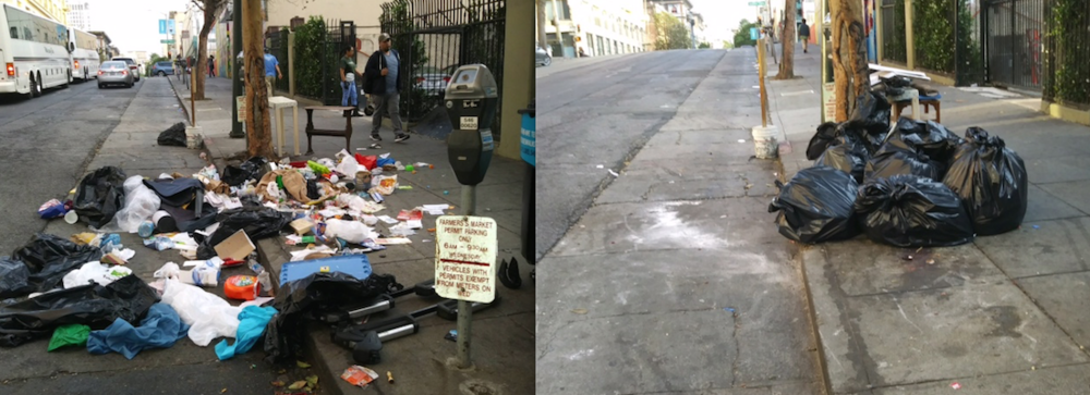 Before and After. Clean Team respond to a too familiar site in mid August. Crews work with DPW to retrieve garbage in properly collected bags. If trash is gathered after DPW trucks make their rounds, Clean Team trucks retrieve at the end of day. Photo: TLCBD Clean Team