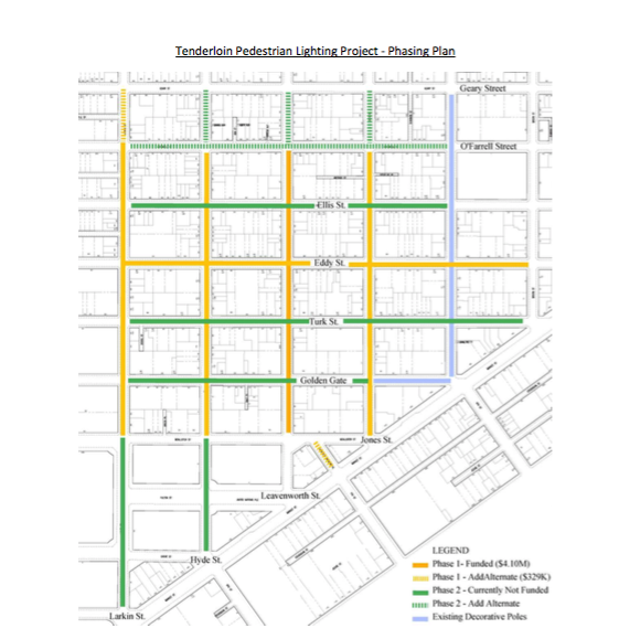 Screen shot of the phased installment plant for the Tenderloin Pedestrian Lighting Project. Download the full  Info Sheet from SF Water Power and Sewer here .