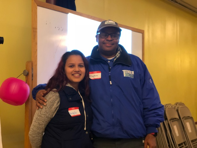 Angela and Stephon pose after being copresenters at Tenderloin Talk Live on January 24th at De Marillac Academy. They continue to make impacts in the Tenderloin as well as in their personal communities through their work on Safe Passage and Clean Team respectively. Thank you for being heroes!