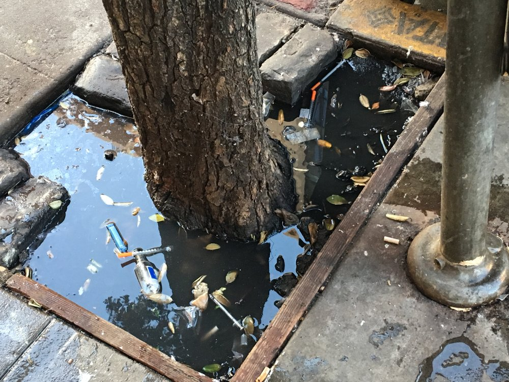 Improperly discarded syringes float in the water of a tree well after the rains. This photo is from the 100 block of Golden Gate Avenue, on the north side of the street. Photo: TLCBD Clean Team