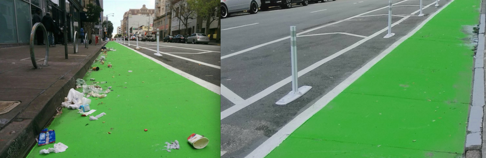 From early April, TLCBD communications staff noticed the above (left/before)  photo tweeted  to @sf311 by user @jef_poskanzer. With Clean Team member Tony nearby, we were able to dispose of the debris, once again making the new Turk Street bike lane safe for riders. TLCBD staff then immediately reached out to SF311 to reconcile the request, so as to not duplicate service.