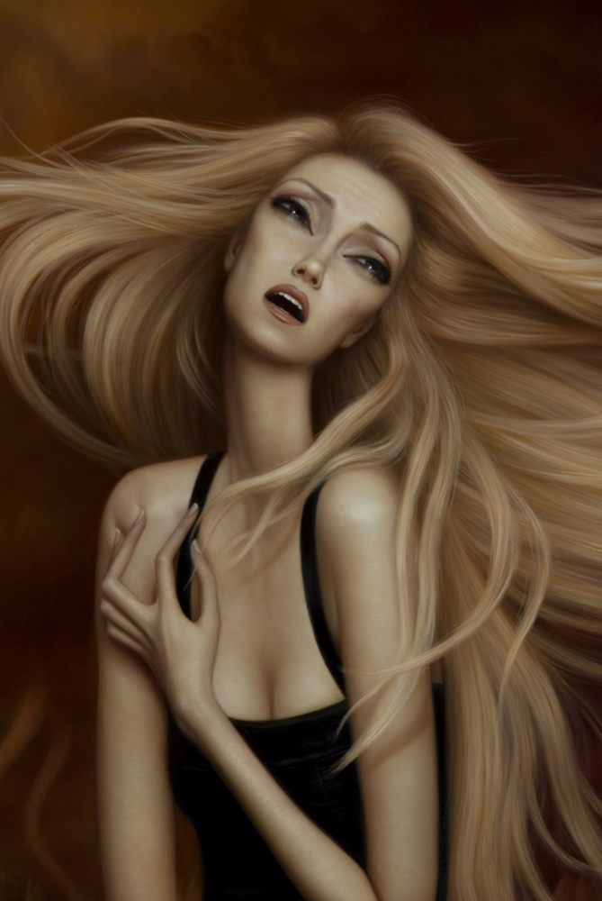 "Detail shot of ""The Pinnacle"" Oil on board ©Lori Earley"