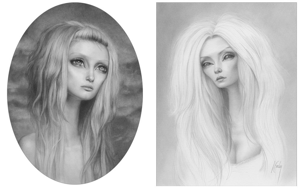 """Awaiting..."" graphite on bristol board and ""Aprella"" graphite on bristol board ©Lori Earley"
