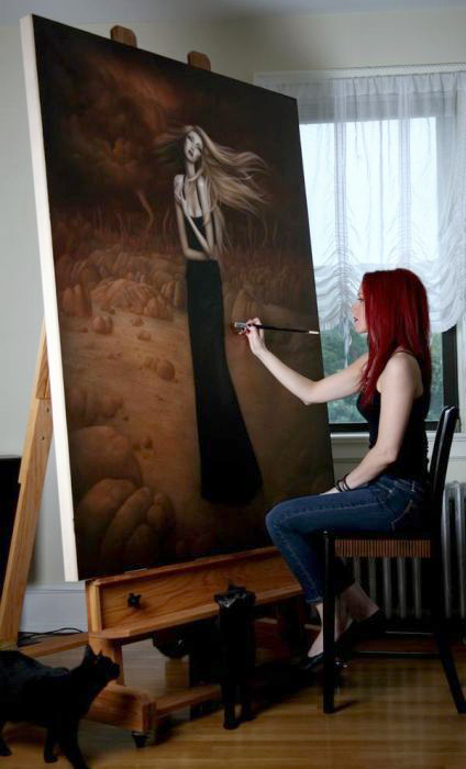 Lori Earley painting  The Pinnacle , 2008 with kitties Jade and Dez.