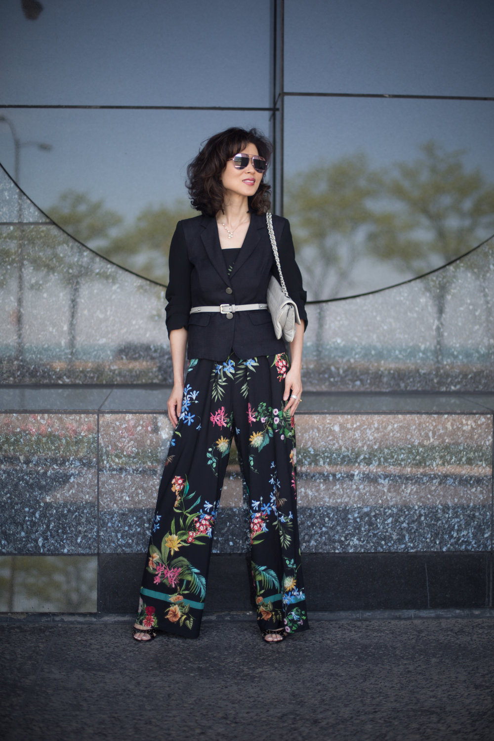 Shop my look and similar items here//: Straw Hat//Wool Jacket//Belt//Floral print Jumpsuit//Sunglasses//Sandals(similar)//