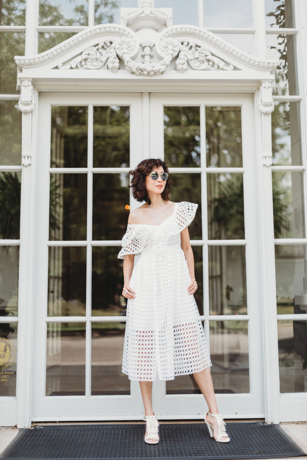 Shop my look and similar items here://   Self-Portrait lace frilled midi dress // Self-Portrait lace frilled midi dress // Gucci fringe sandals(similar steal version) // Tory burch flip flop (beige) //  Dior vintage sunglasses (similar steal version) //  Bulgari Necklace (similar steal version) //