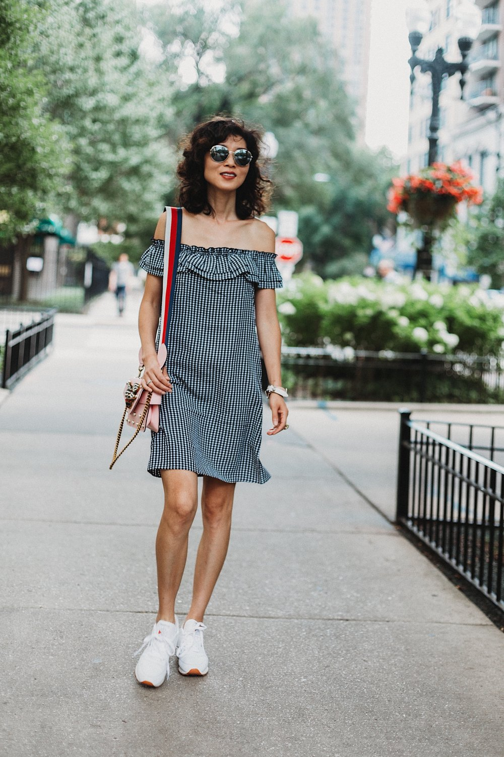 Shop my look and similar items here://   Gingham Dress // Gingham Dress(similar) // Gingham Dress(similar) // Sneaker // Broadway Mini  Purse // Sunnies // Sunnies( steal)  // Bracelet //