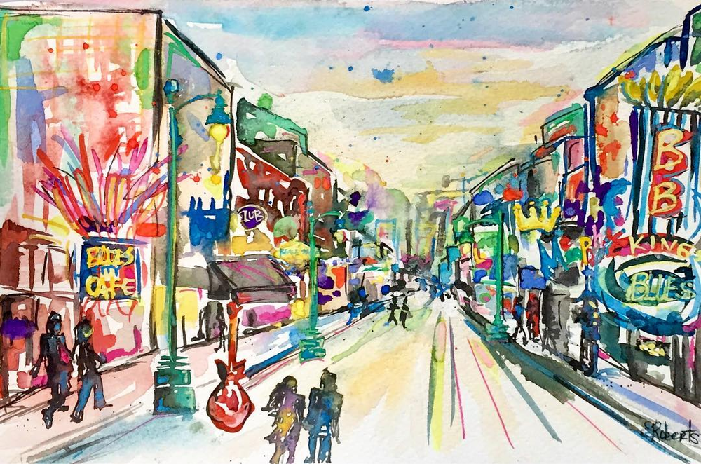 beale street memphis watercolor art
