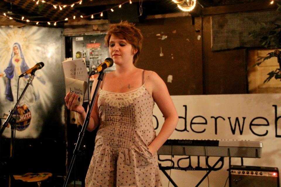 stevie reading at her first spiderweb salon as a traveling poet | 2013 | photo by courtney marie
