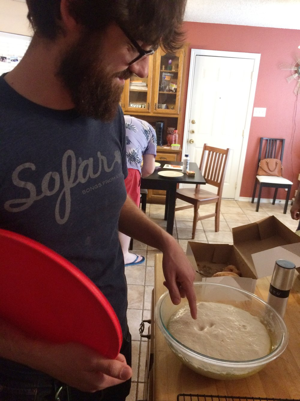 Peter demonstrates a very technical dough-testing move.