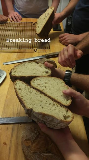Comparing loaves. They were all delicious.