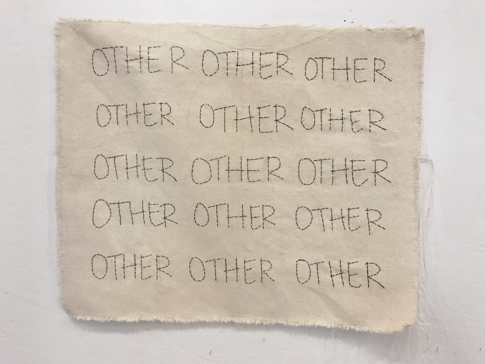 Taylor Barnes,  Just An(other) Word , embroidery on cloth