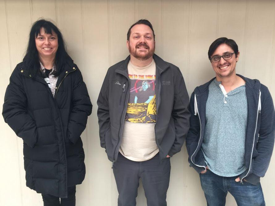 Sarah Ruth, Corbin Childs, and Jacob Greenan at Shiny Sound Recording Studio