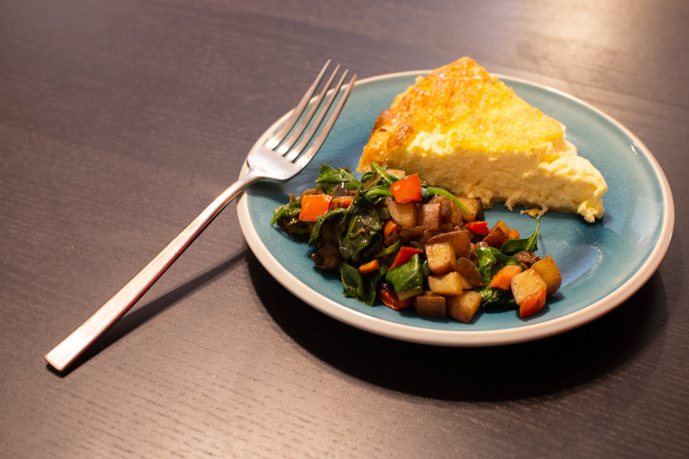 Easy Cheese Quiche with Veggie Hash  photo by Nina Chantanapumma