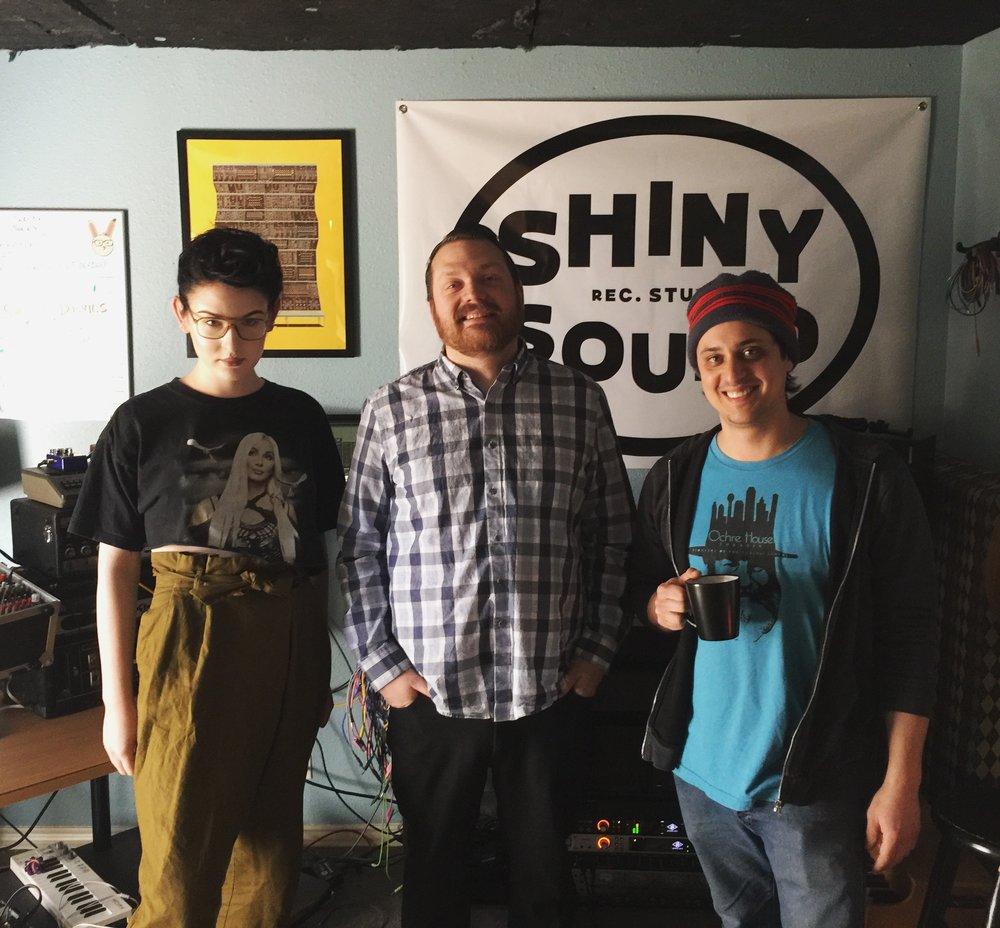 Lorelei K, Corbin Childs, and Jacob Greenan at Shiny Sound Recording Studio