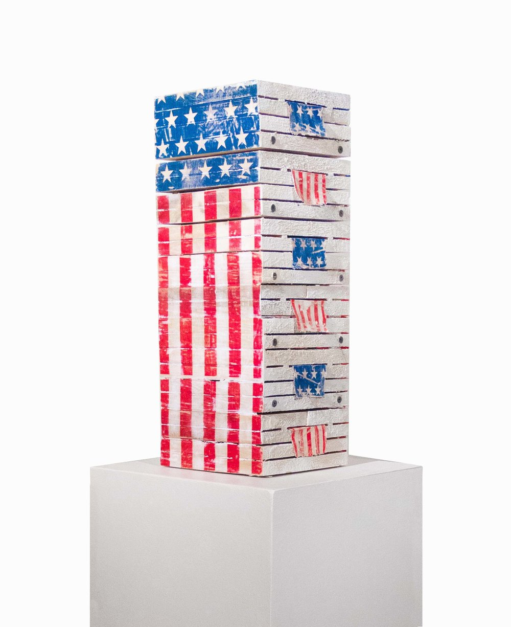 "Stacked, 2016  28""x13""x13"" wood, metal, encaustic, acrylic paint, paper"